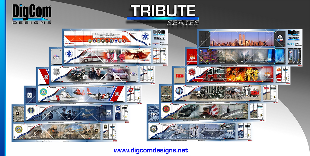 DigCom Tribute series containers. 9/11 and armed forces