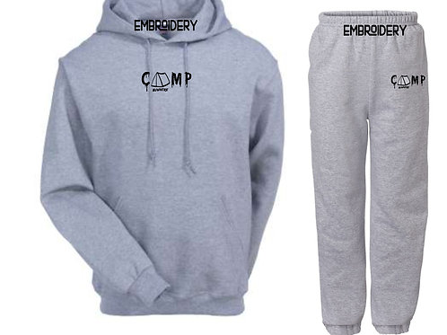Camp Nowhere Oxford Grey Sweatsuit Embroidered Hood/Pants