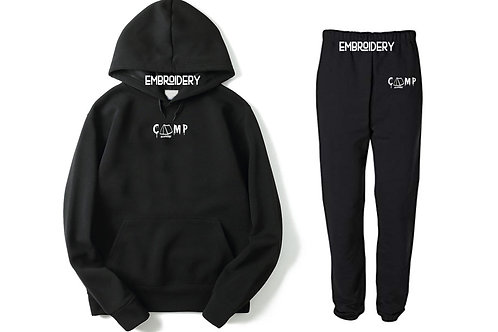 Camp Nowhere Black Sweatsuit Embroidered Hood/Pants