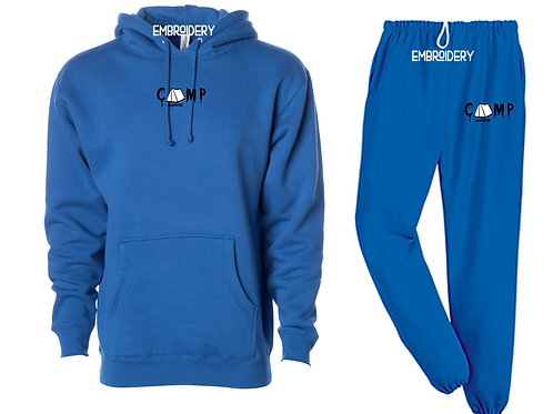 Camp Nowhere Royal Blue Sweatsuit Embroidered Hood/Pants