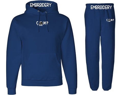 Camp Nowhere Navy Sweatsuit Embroidered Hood/Pants