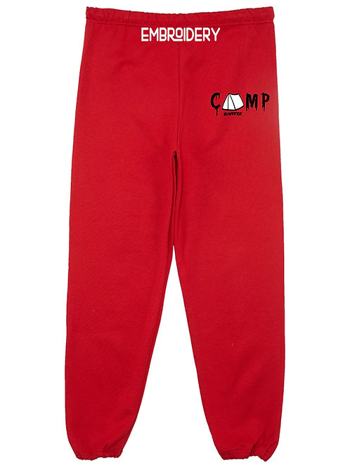 Camp Nowhere Red Embroidered Pants