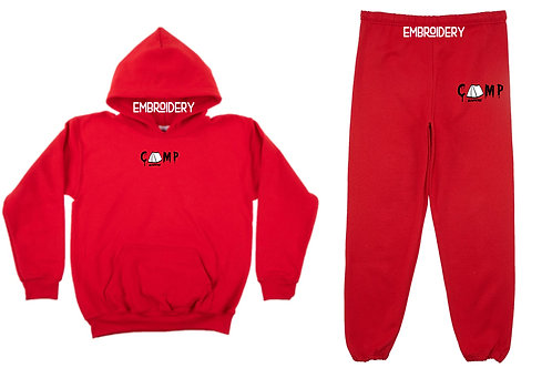 Camp Nowhere Red Sweatsuit Embroidered Hood/Pants