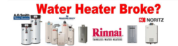 50 gallon gas water heater, 50 gallon electric wate heater, 40 gallon gas water heater, 40 gallon electric water heater, 50 gallon propane water heater, tanless water heaters, Rinnai, Noritz, AO Smith, Bradford White.