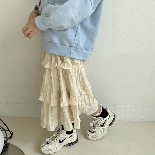 Three Frills Long Skirt
