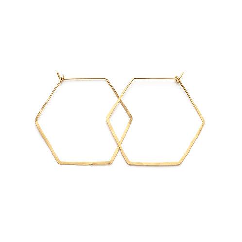 Brass Hexagon Hoops