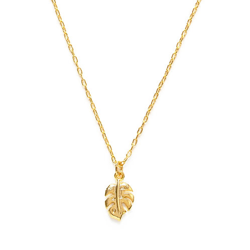 Tiny Monstera Necklace- N112M