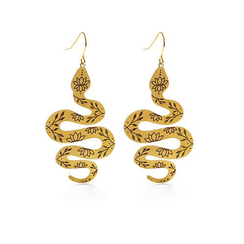 Lotus Snake Earrings