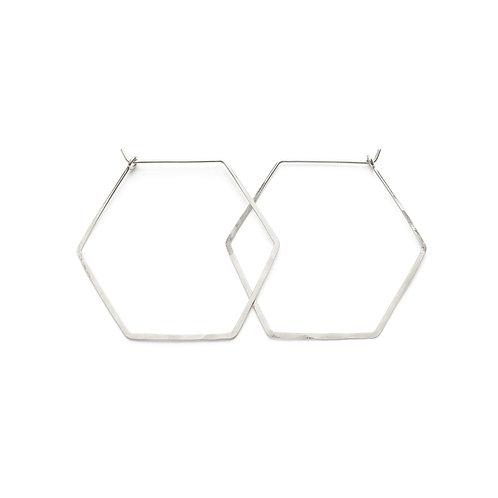 Sterling Hexagon Hoops