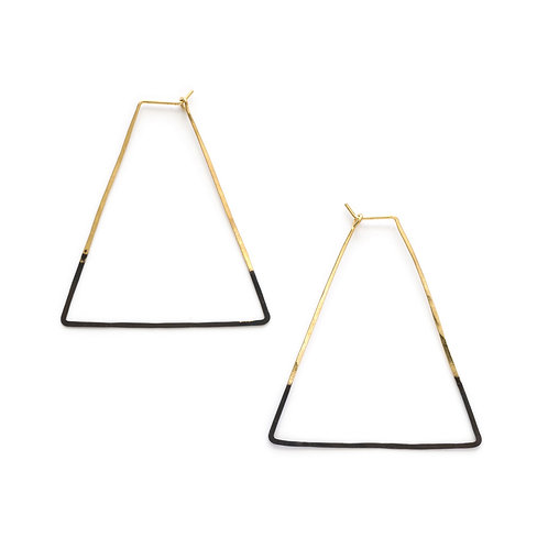 Patina Dipped Triangle Hoops