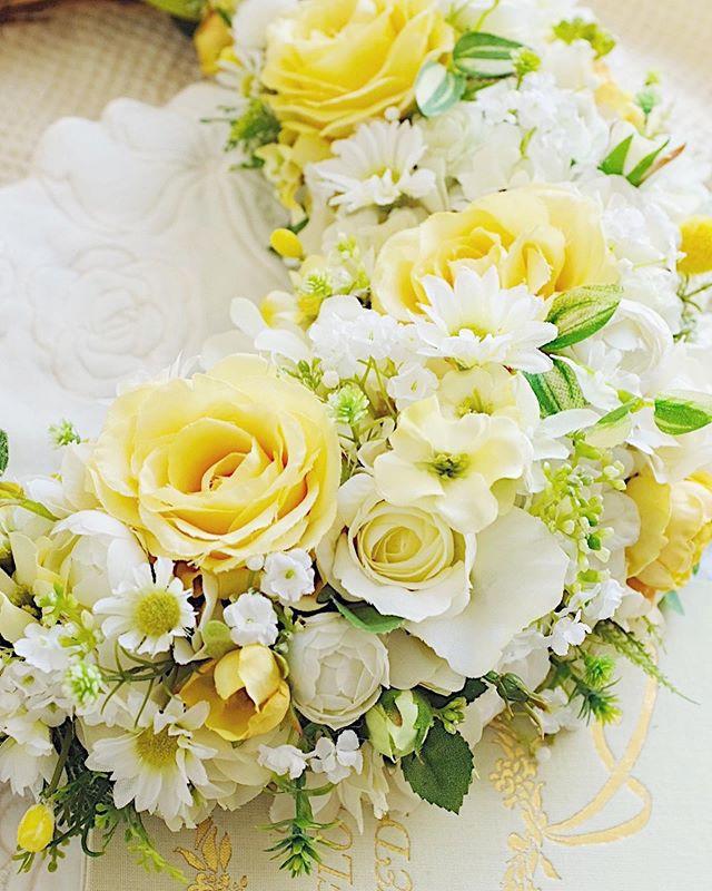 アーティフィシャルの_ブライダルブーケと花冠🌼_先日、静岡で行われた披露宴へお