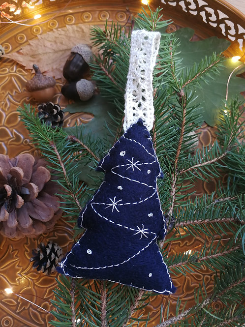 Décoration de Noël feutrine Sapin Bleue