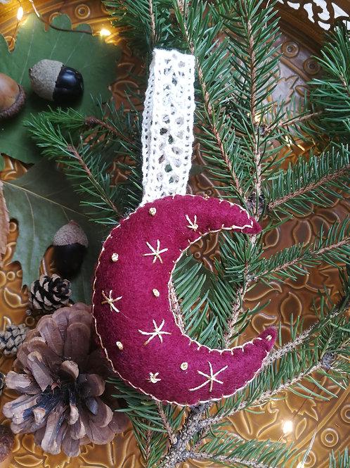 Décoration de Noël feutrine Lune bordeaux