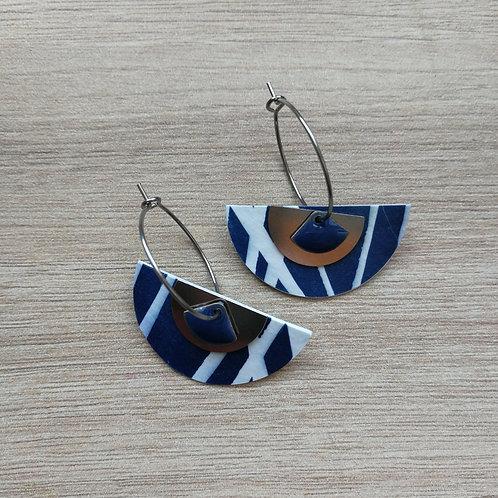 Anneaux cyanotype palme sequins argentés et bleus