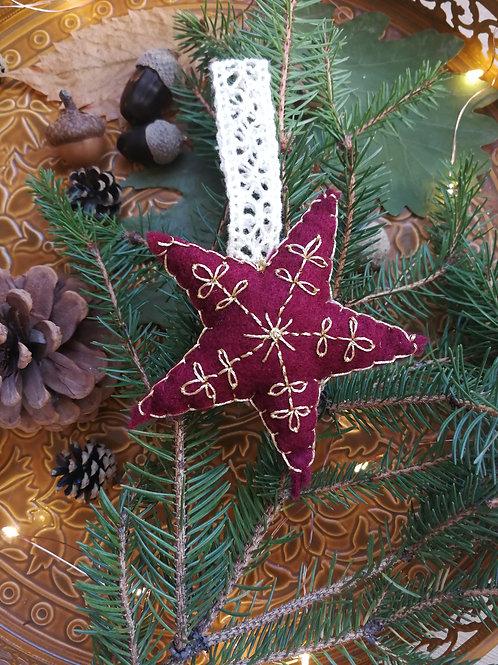 Décoration de Noël feutrine Etoile Bordeaux
