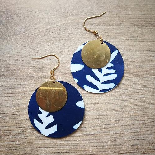 Boucles cyanotype fougère et sequin laiton