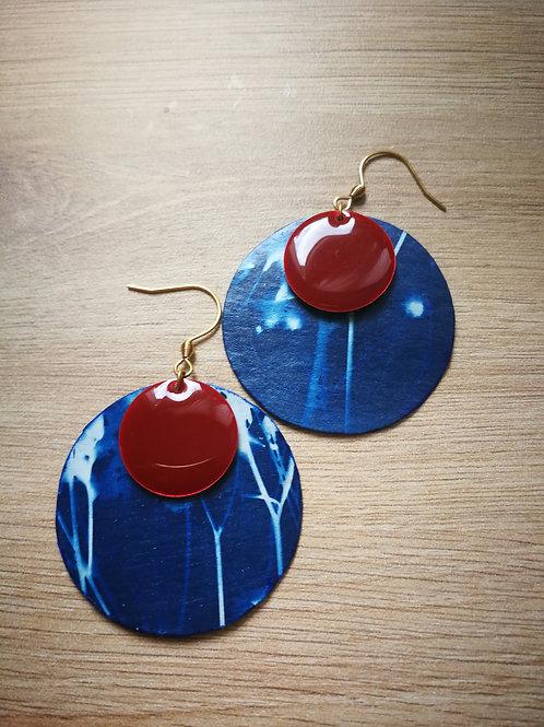 Boucles cyanotype gypso sequin rouge