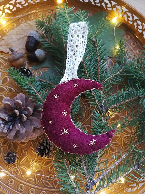 Décoration de Noël feutrine Lune bordeaux étoiles dorées
