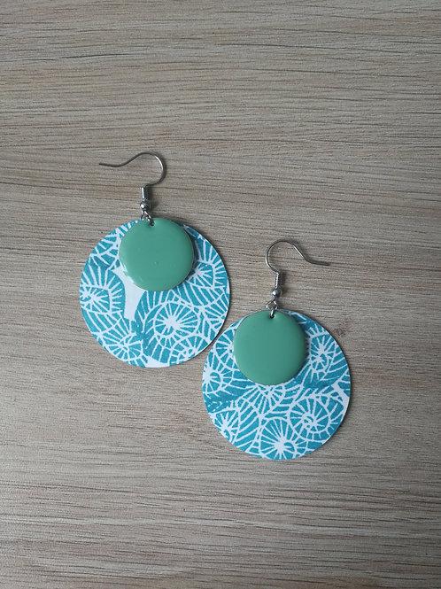 Boucles nuages turquoise et sequins vert d'eau