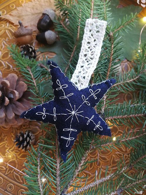 Décoration de Noël feutrine Etoile Bleue