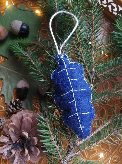 Décoration de Noël feutrine feuille de chêne bleue