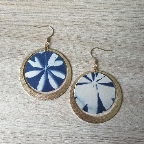 Copie de Boucles cyanotype fougère et anneaux dorés