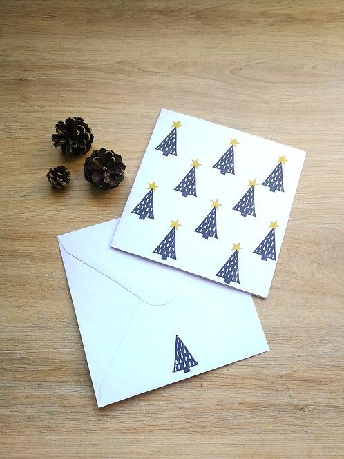 Carte Noël petits sapins noirs à étoiles vertes