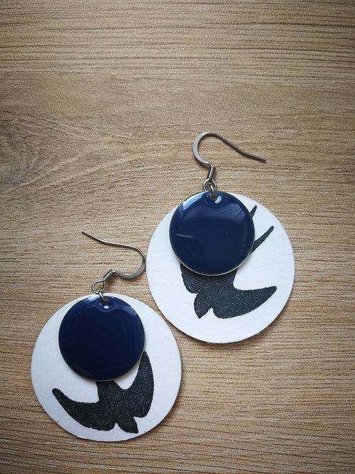 Boucles Hirondelles et sequins bleus