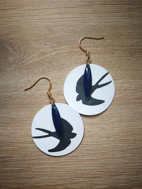 Boucles Hirondelles & sequins bleus