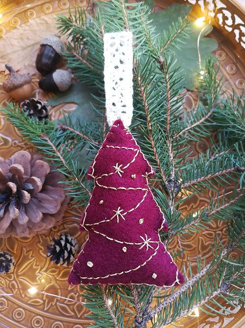 Décoration de Noël feutrine Sapin bordeaux