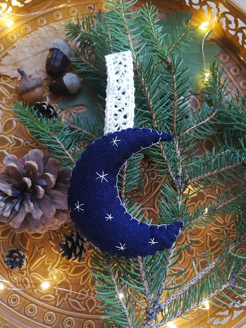 Décoration de Noël feutrine Lune bleue étoiles argentées