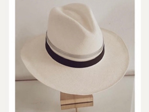 Double leather hat /natural straw