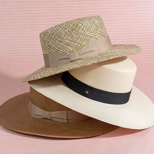 Boater Hat (brown/white straw)