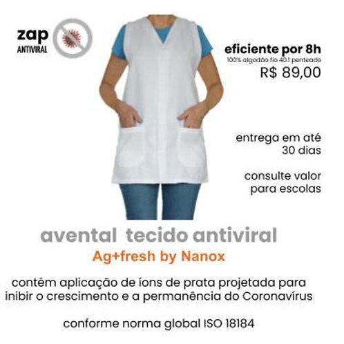avental professora antiviral  tricoline com aplicação de Ag+fresh by Nanox
