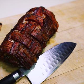 Bacon wrapped pork loin