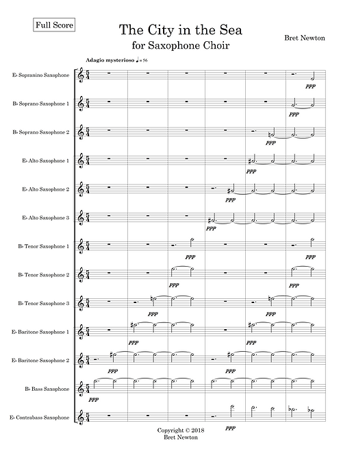 The City in the Sea - for Saxophone Choir (score and parts)
