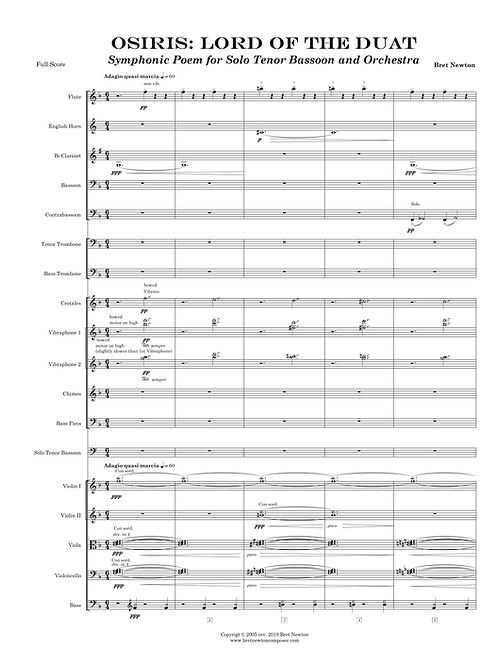 Osiris: Lord of the Duat for solo Tenor Bassoon and Orchestra - Full Score