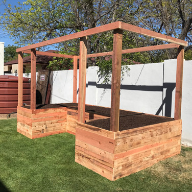 A U-shaped Garden with 4x4 Posts and Frame. (3) 2-Foot Tall Raised Beds