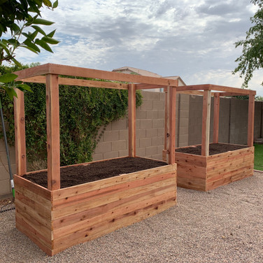(2) 2-foot tall raised beds with 4x4 posts