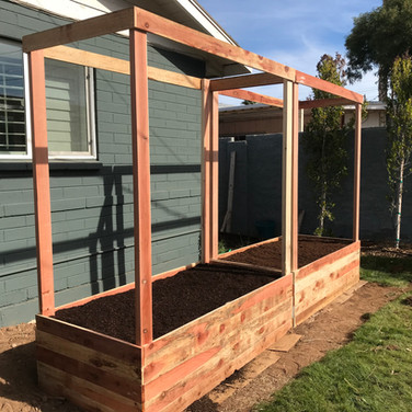 "(2) 18"" tall custom garden boxes with 2x4 posts"