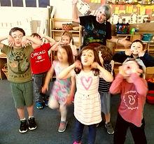 Silly Kids at a preschool music class