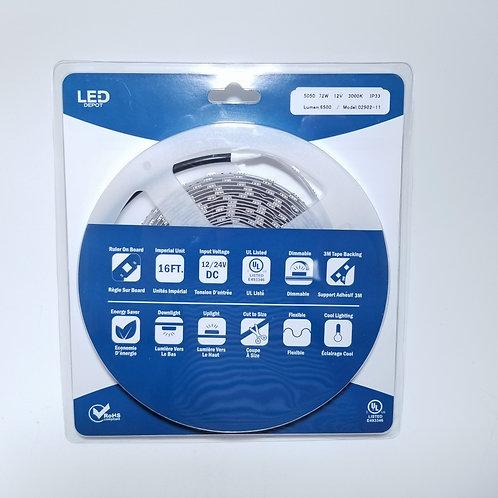 LED Strip Light 5050 72W 12V 3000K IP30 16ft