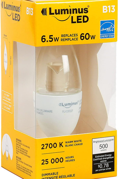 Luminus B13FLAME Tip with E2 Base-6.5W (60W) 500 Lumens 2700K Dimmable LED