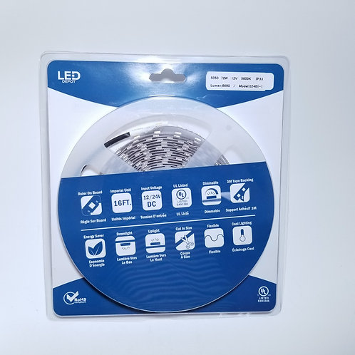 LED Strip Light 5050 72W 12V 5000K IP33 16ft