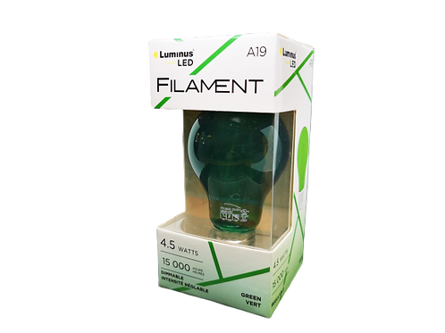 Luminus PLF104G Filament Coloured-4.5W (25W) 375 Lumens Dimmable LED, A19, Green