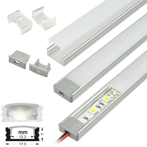 With Strip Light Surface Mount Channel Aluminum Profile Silver Color per foot