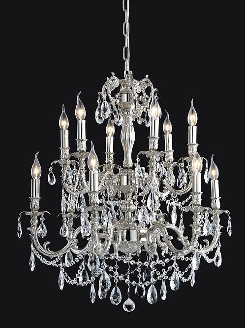 12 Light Crystal Chandelier (E12) candelabra 40W