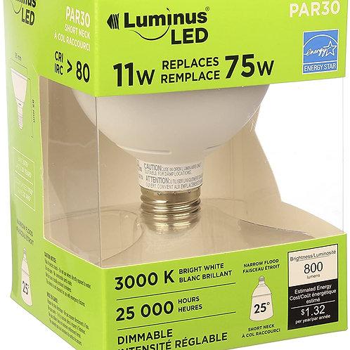 Luminus Par30 Short Neck Narrow Flood - 11W (75W) 800 Lumens 3000K Dimmable LED