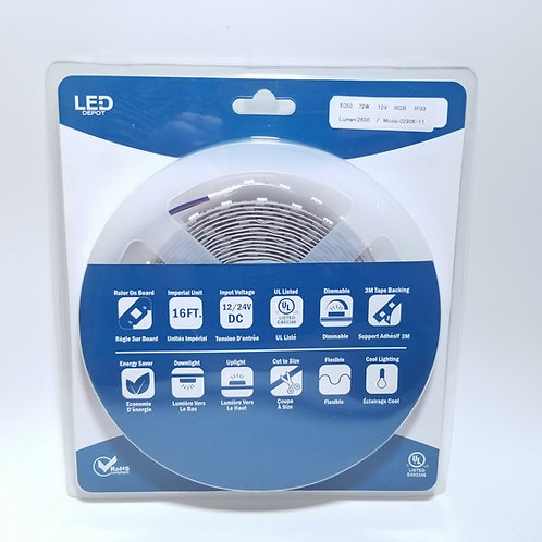 LED Strip Light 5050 72W 12V 14.4W/M RGB IP33 16ft