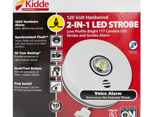 Kidde Hardwired 2-in-1 LED Strobe and Smoke Detector with 10-yr Battery Back-Up